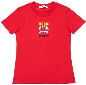 MSGM Logo Printed Cotton Jersey T-Shirt