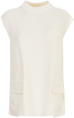 Sacai Suiting Pullover W/ribbed Bottom And Collar
