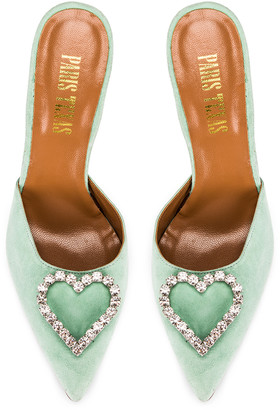 Paris Texas Crystal and Suede Stiletto Mule in Mint | FWRD