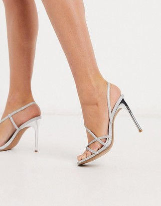 ASOS DESIGN Notorious strappy heeled sandals in silver glitter