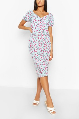 boohoo Tall Woven Floral Print Bias Cut Midi Dress