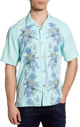 Tommy Bahama Aqua Splash Embroidered Short Sleeve Button-Up Silk Camp Shirt