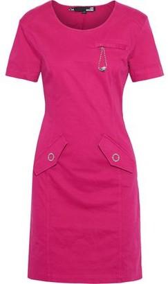 Love Moschino Embellished Stretch-cotton Twill Mini Dress
