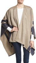 Neiman Marcus Border-Stripe Wool Wrap, Medium Gray/Charcoal