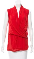 Helmut Lang Silk Draped Top