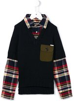 DSQUARED2 sweater and checked shirt - kids - Cotton/Acrylic/Nylon/other fibers - 12 yrs
