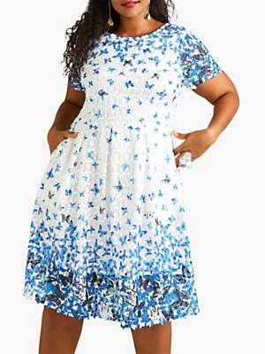 Yumi Curve Butterfly Lace Dress, Blue