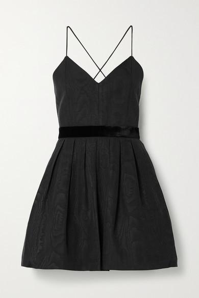 Alice + Olivia Madison Velvet-trimmed Pleated Cotton-blend Moire Mini Dress