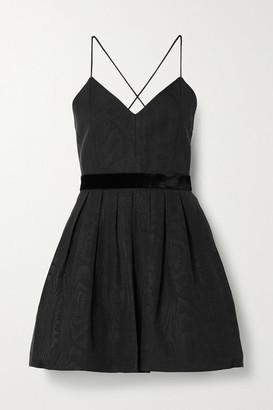 Alice + Olivia Madison Velvet-trimmed Pleated Cotton-blend Moire Mini Dress - Black