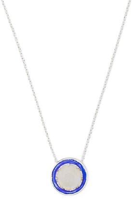 AKANSHA SETHI Moonstone Blue Enamel Button Necklace