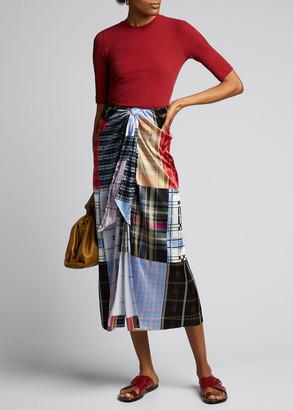 Rosetta Getty Cotton Jersey Cropped-Sleeve T-Shirt