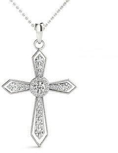 14KT 0.35 CT Round Cut Diamond Cross Pendant Necklace Amcor Design