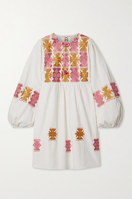 Figue Lucie Embroidered Cotton Mini Dress - Ivory