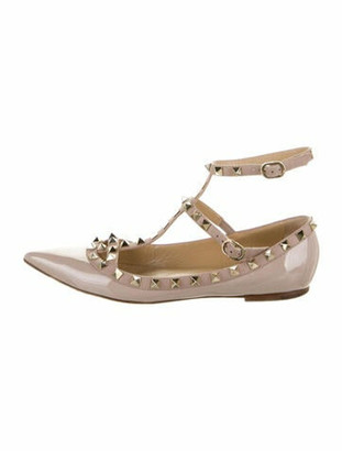 Valentino Patent Leather Studded Accents Flats Pink