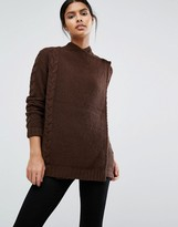 Vila Wrap Over Cable Knit Sweater