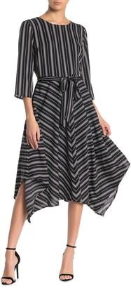 T Tahari Stripe Print Tie Belted Dress