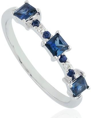 Artisan 18K White Gold Blue Sapphire Three Stone Signet Ring