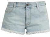 Stella McCartney Distressed-star denim shorts