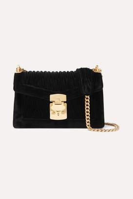 Miu Miu Confidential Matelassé Velvet Shoulder Bag - Black