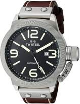 TW Steel Men's CS26 Stainless Steel Watch with Brown Leather Band