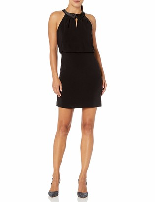 Halston Women's Satin Neck Crepe Dress with Keyhole