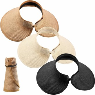 Satinior 3 Pieces Women Foldable Straw Sun Visor Wide Brim Roll up Beach Hat with Bowtie