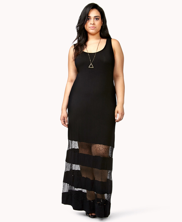 Forever 21 FOREVER 21+ Standout Lace Panel Maxi Dress