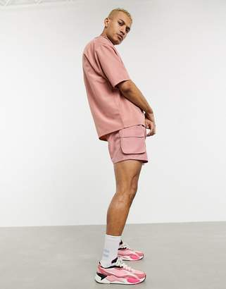 Asos Design DESIGN two-piece swim shorts in pink ripstop fabric with utility pockets short length