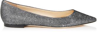 Jimmy Choo ROMY FLAT Anthracite Lame Glitter Fabric Pointy Toe Flats
