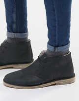Asos Desert Boots In Waxed Suede With Shearling Look Lining