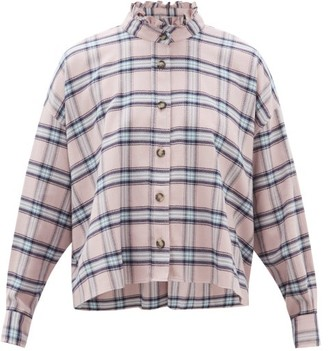 Etoile Isabel Marant Ilaria Ruffled Checked Cotton Shirt - Womens - Light Pink