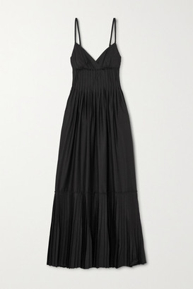 A.L.C. X Petra Flannery Esdell Pleated Cotton-blend Poplin Maxi Dress - Black