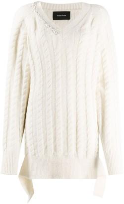 Simone Rocha Cable-Knit Pearl Pullover