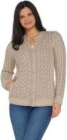 Aran Craft Hearts & Kisses Button Front Sweater Cardigan