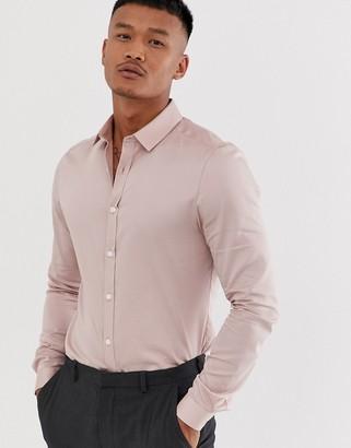 Asos Design DESIGN wedding skinny fit shirt in dusty pink
