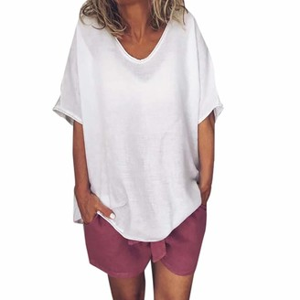Barkoiesy Baekoiesy Women V-Neck T-Shirt Short Sleeve Batwing Bat Summer Shirt Tunic Blouse Wrap Shirt Sexy Top Family Casual Festive Party Clothing Plus Size Tops White
