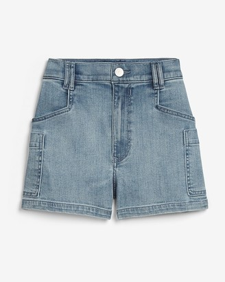 Express Super High Waisted Side Pocket Utility Jean Shorts