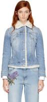 Alexander McQueen Blue Shearling Denim Jacket