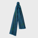 Paul Smith Women's Petrol Flower Embroidered Wool Scarf