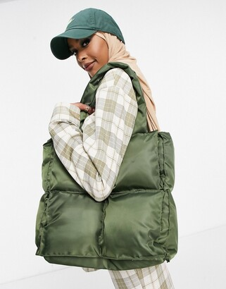 Ego quilted tote bag in khaki nylon