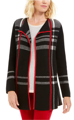 Charter Club Plaid Open-Front Cardigan