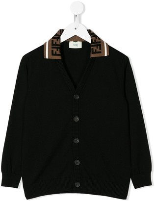 Fendi FF logo collar cardigan