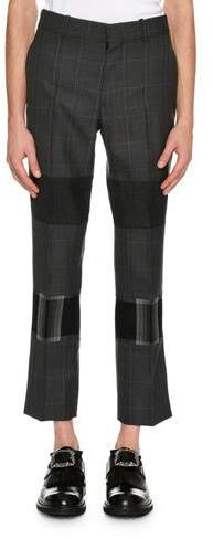 Alexander McQueen Mixed-Plaid Cropped Trousers, Gray Multi