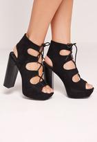 Missguided Lace Up 70's Platform Sandals Black