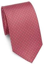 Salvatore Ferragamo Gancini Logo Print Silk Tie