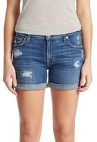 7 For All Mankind Rolled-Cuff Distressed Five-Pocket Shorts