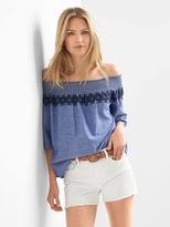 Gap Smocked off-shoulder embroidery top