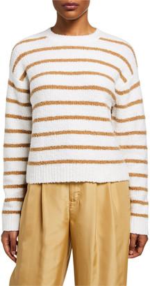 Vince Striped Crewneck Waffle Stitch Sweater