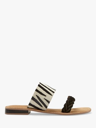 Mint Velvet Lara Zebra Print Suede Sandals, Black/White