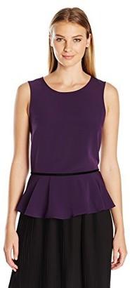 Lark & Ro Women's Sleeveless Velvet Trim Peplum Top